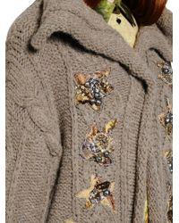 Antonio Marras Brown Embellished Wool Blend Cardigan
