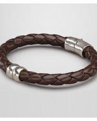 Bottega Veneta Black Ebano Intrecciato Antique Silver Nappa Bracelet for men