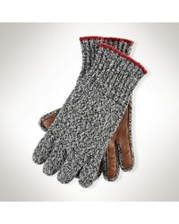 Polo Ralph Lauren - Gray Ragg Wool Knit Gloves for Men - Lyst