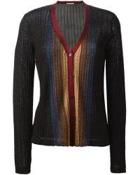 Marco De Vincenzo - Black Cable Knit Striped Cardigan - Lyst