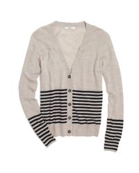 Madewell Natural Middy Striped Cardigan