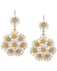 Betsey Johnson | Yellow Gold-Tone Daisy Cluster Drop Earrings | Lyst