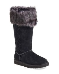UGG | Black Rosana Wool Shearling-Cuff Boots | Lyst