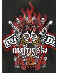 DSquared² Black Matrioska Print T-shirt for men