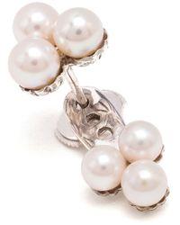 Yvonne Léon | Metallic 18Kt White Gold And Pearl 'Trilogie' Lobe Earring | Lyst
