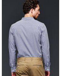 Gap - Blue Wrinkle-resistant Gingham Shirt (slim Fit) for Men - Lyst