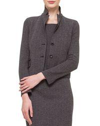Akris Gray Cashmere-blend Herringbone Jacket