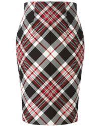 Alexander McQueen - Black Tartan Pencil Skirt - Lyst