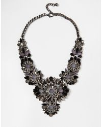 Little Mistress | Black Statement Flower Necklace | Lyst