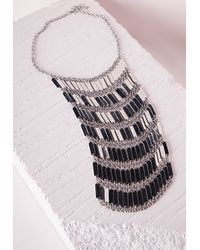 Missguided - Metallic Waterfall Tier Drop Necklace Silver - Lyst