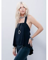Free People - Black Womens Strappy Back Apron Tank - Lyst
