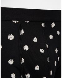 ASOS - Black Trunks With Monochrome Floral Print for Men - Lyst