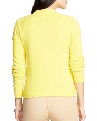 Lauren by Ralph Lauren Yellow Petite Moto Cotton Full-zip Sweater