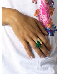 Patrizia Pepe | Green Costume Jewellery Ring With Fly Pendant | Lyst