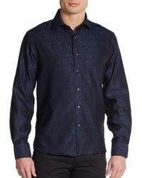 James Campbell | Blue Regular-fit Jacquard Cotton Sportshirt for Men | Lyst