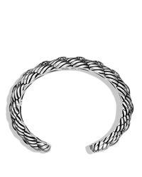 David Yurman Metallic Woven Cable Narrow Cuff With Diamonds