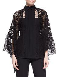 Elie Saab Black Lace Pagoda-sleeve Blouse