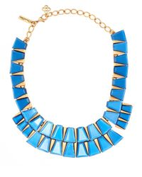 Oscar de la Renta - Blue Resin Baguette Necklace - Lyst