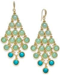 ABS By Allen Schwartz | Blue Gold-tone Round Multi Aqua Stone Chandelier Earrings | Lyst