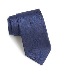 Etro - Blue Paisley Woven Silk Tie for Men - Lyst