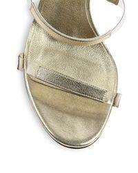 Tamara Mellon Frontline Metallic Leather & Translucent Sandals