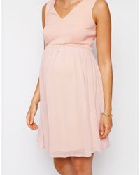 ASOS - Pink Exclusive Skater Dress With Scuba Top - Lyst