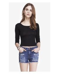 Express One Eleven Long Sleeve Cropped Tee - Black