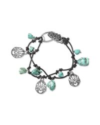 Lucky Brand - Metallic Silver Tone Turquoise Charm Knotted Leather Bracelet - Lyst