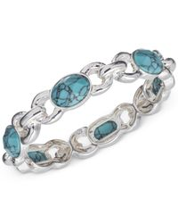 Jones New York | Blue Silver-Tone Faux-Turquoise Stretch Bracelet | Lyst