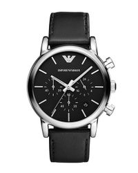 Emporio Armani - Black 'classic' Chronograph Leather Strap Watch for Men - Lyst