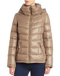 Calvin Klein Natural Petite Hooded Packable Puffer Coat