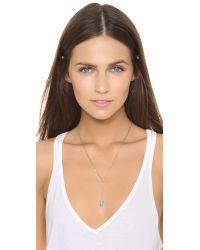 Tai Metallic Lariat Necklace - Turquoise/gold