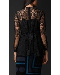 Burberry - Black Embroidered Lace V-Neck Top - Lyst