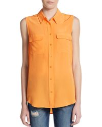 Equipment | Orange Sleeveless Silk Shirt | Lyst
