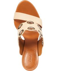 Chloé - White Ch24615 Eyelet Mule Ivory Leather - Lyst
