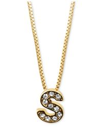 "Anne Klein Metallic Gold-Tone Pave Glass ""S"" Initial Pendant Necklace"