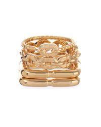 Diane von Furstenberg | Metallic Set Of 4 Gold-Plated Rings | Lyst