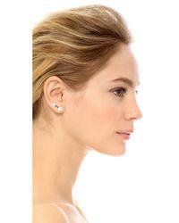 Auden | Metallic Barbell Crystal Earrings - Clear/brass | Lyst