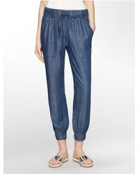 Calvin Klein | Blue White Label Chambray Jogger Pants | Lyst