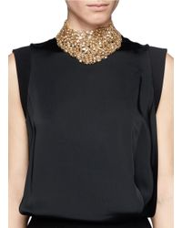 St. John | Metallic 'night Bloom' Swarovski Crystal Laurel Plastron Necklace | Lyst