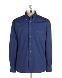 Brooks Brothers Red Fleece Blue Solid Cotton Sportshirt for men
