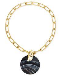 Michael Kors | Black Gold-tone Opaque Disc Pendant Necklace | Lyst