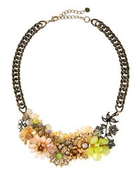 Lydell NYC - Multicolor Floral Bib Necklace W/ Textured Chain - Lyst