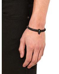 Alexander McQueen - Black Woven Leather And Skull Bracelet for Men - Lyst