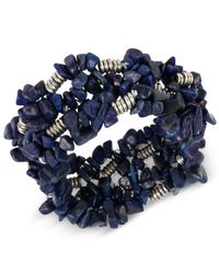 Kenneth Cole - Blue Silver-tone Semiprecious Chip Bead Stretch Bracelet - Lyst