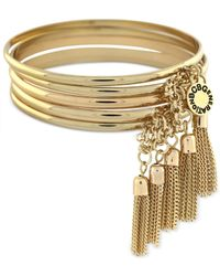 BCBGeneration | Metallic Gold-tone Chain Tassel Bangle Bracelet Set | Lyst