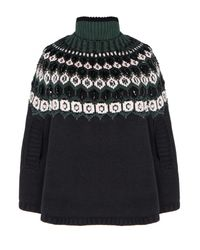 Pixie Market | Green Pearl Beaded Knit Cape | Lyst