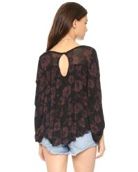 Free People | Black Zoe Printed Blouse - Grey Heather Combo | Lyst
