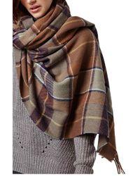 TOPSHOP Brown Check Blanket Scarf