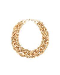 Forever 21 - Metallic Braided Chain Statement Necklace - Lyst